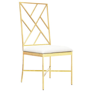 Worlds Away Gold Fretwork Chair with White Vinyl Seat