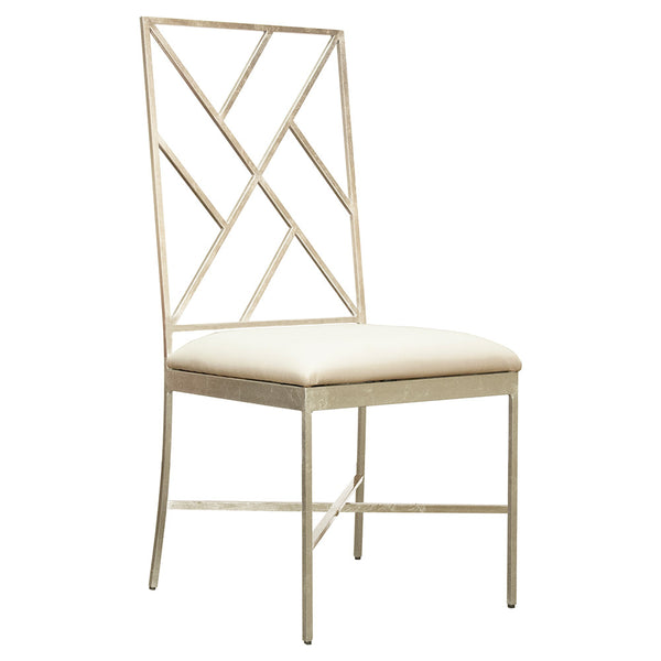 Worlds Away Silver Fretwork Chair with White Vinyl Seat