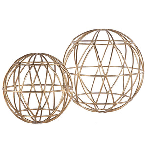 Worlds Away Gold Geometric Sphere 12""