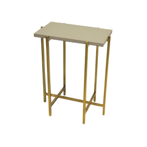 Worlds Away Antique Brass Side Table with Rectangular Top - Grey Faux Shagreen