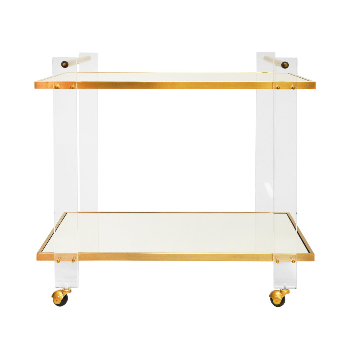 Worlds Away 2 Tier Clear Acrylic Bar Cart with Mirror Shelves - Brass