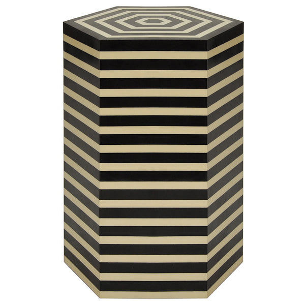 Worlds Away Hexagonal Striped Accent Table – Black & Off White Resin