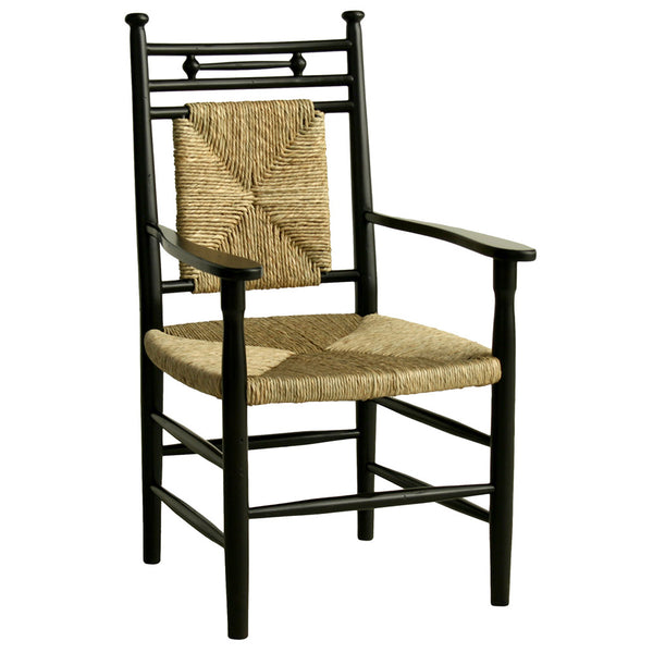 Abigail Dining Arm Chair with Woven Seat – Black (23 Finish Options)