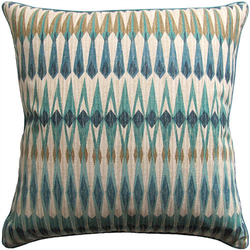 Diamond Pattern Pillow - Multi Blue, Green & Neutral