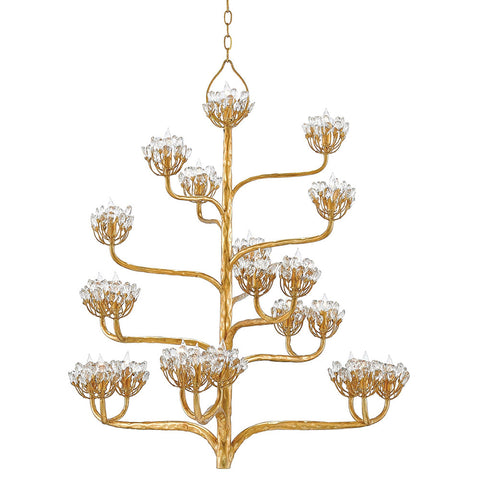 Currey and Company Agave Chandelier – Dark Gold & Crystal