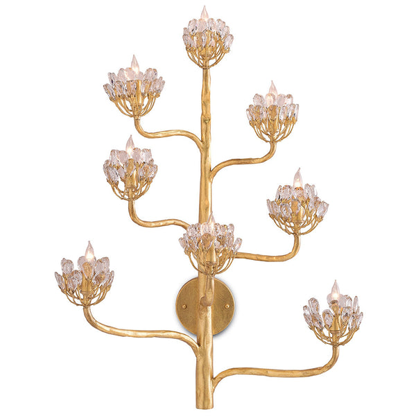 Currey and Company Agave Wall Sconce – Dark Gold & Crystal