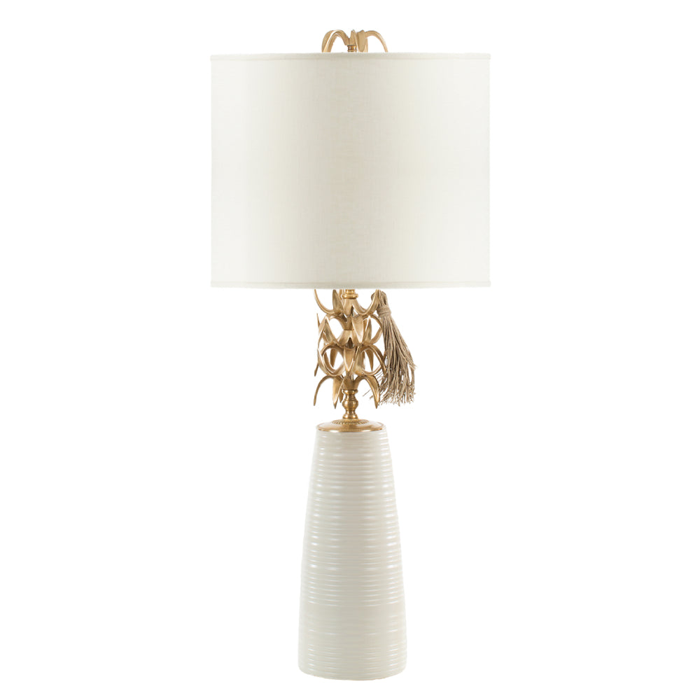 Ivory Ananas Table Lamp - White Shade