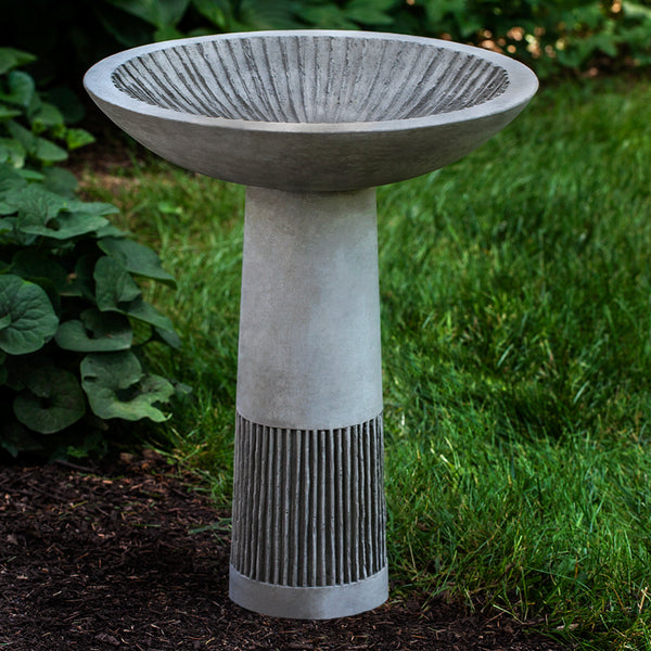 Carved Lines Stone Birdbath - Dark Grey Patina