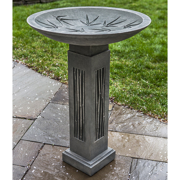 Bamboo Accents Bird Bath - Dark Grey Patina