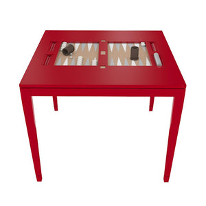 Square Lacquer Backgammon Table - Red (Additional Colors Available)