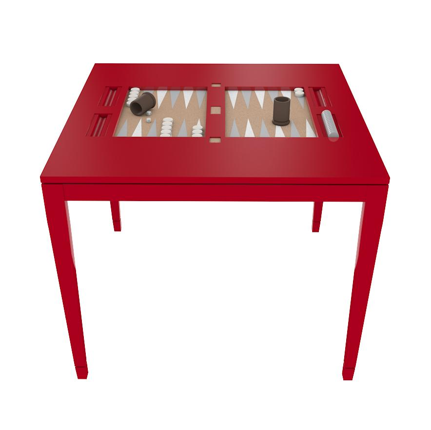 Square Lacquer Backgammon Table - Bolero Red (19 colors available)