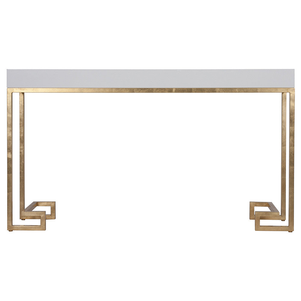 worlds away white lacquer console table with gold leaf greek key  - worlds away white lacquer console table with gold leaf greek key base
