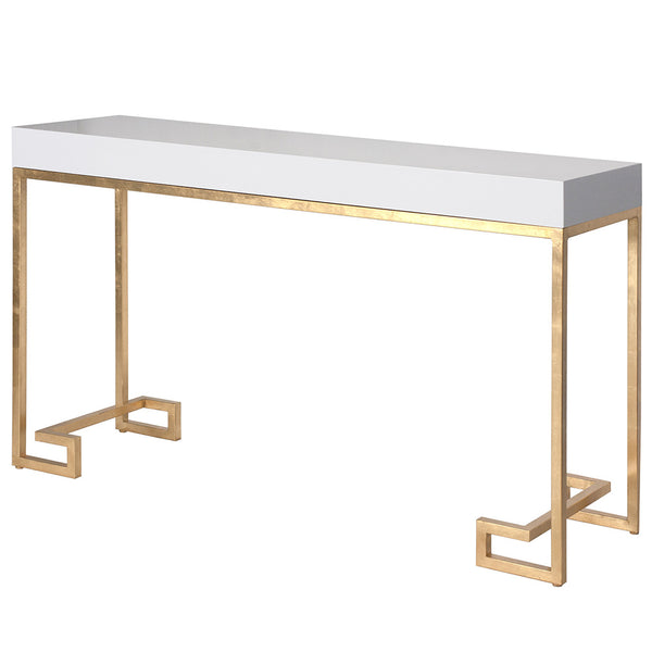 Worlds Away White Lacquer Console Table with Gold Leaf Greek Key Base