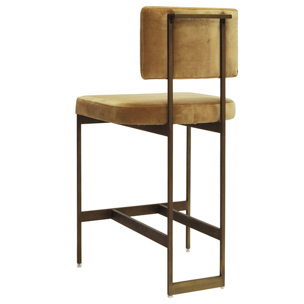 Worlds Away Bronze Frame Counter Stool – Camel Velvet