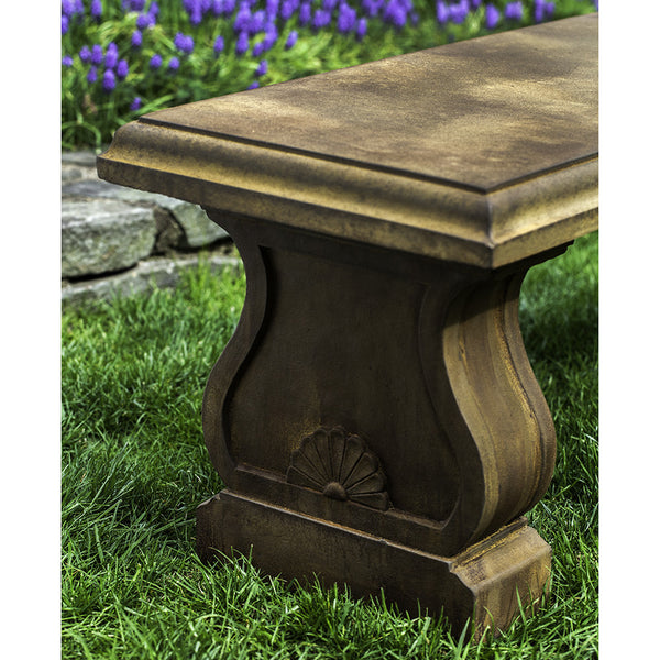 Classically Styled Stone Bench – Rust Patina