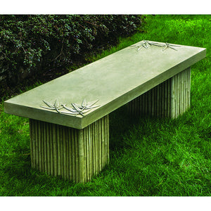 Faux Bamboo Stone Bench – English Moss Patina