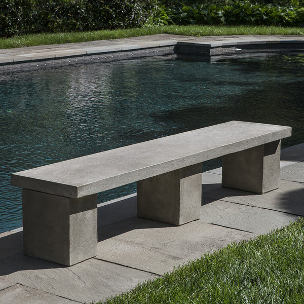 3-Legged Contemporary Stone Bench – Grey-Green Patina