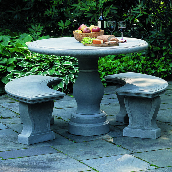 Cast Stone Pedestal Table – Grey Patina