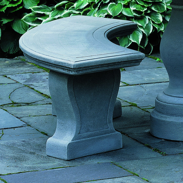 Simple Curved Stone Bench – Grey Patina