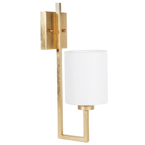 Worlds Away Metal Sconce with White Linen Shade – Gold Leaf
