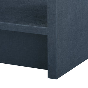 Bungalow 5 Benjamin Linen 1-Drawer Side Table , Navy Blue