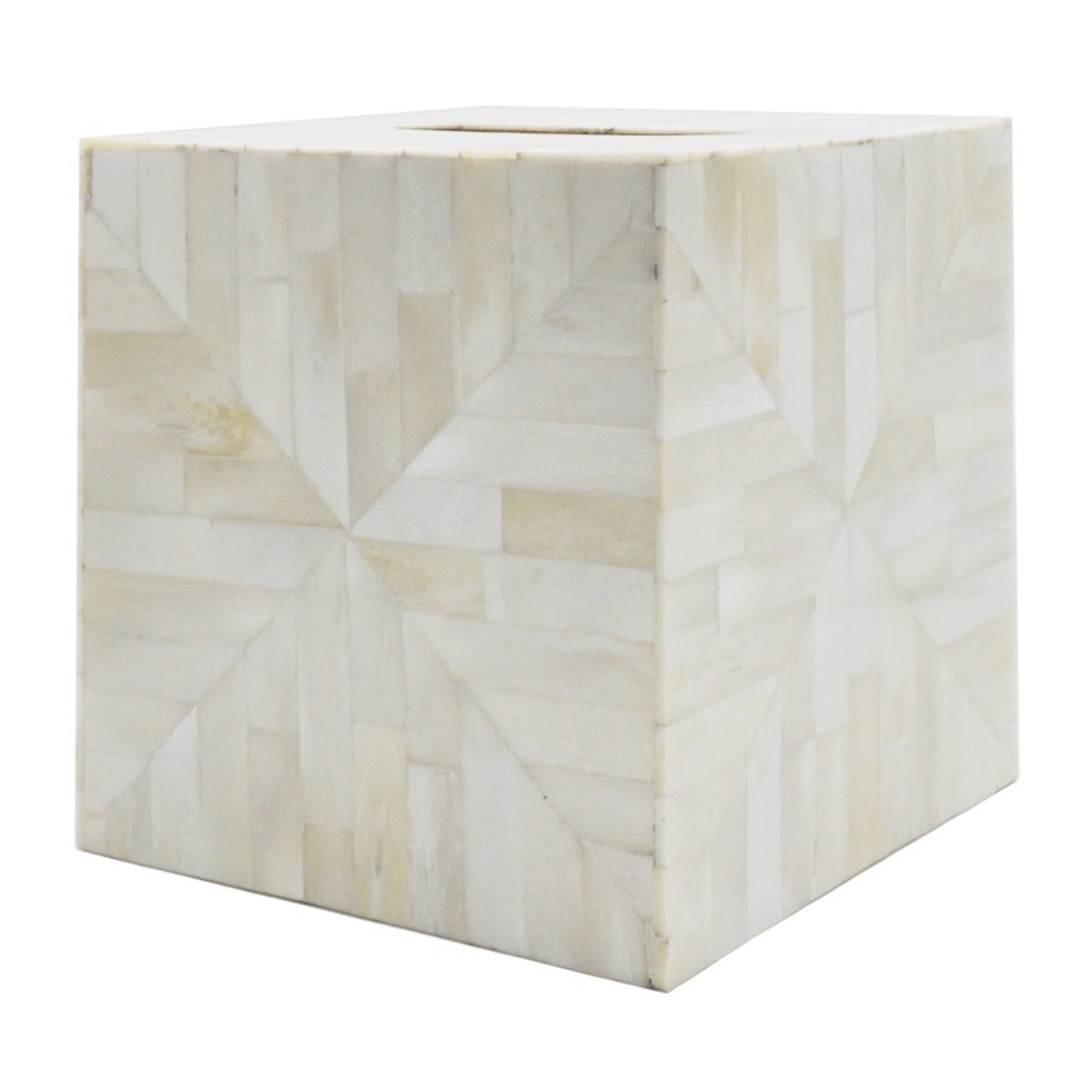Worlds Away Decorative Tissue Box - Tiled Natural Bone