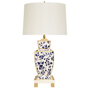 Worlds Away Tole Urn-Shaped Table Lamp – Blue Vine
