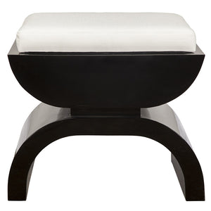 Worlds Away Biggs Black Lacquer Stool with White Linen Cushion