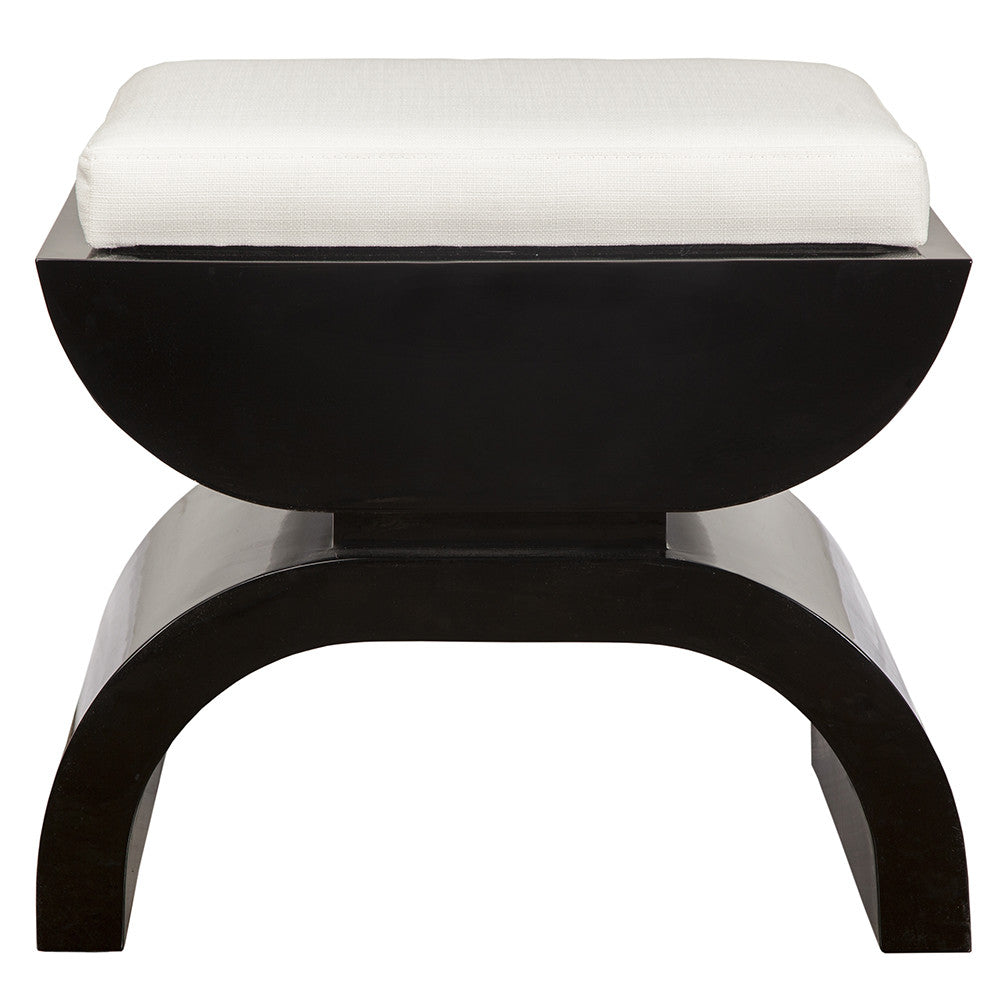 Worlds Away Black Lacquer Stool with White Linen Cushion