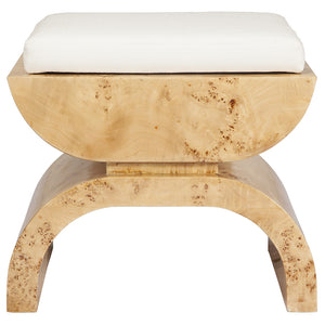 Worlds Away Wood Stool with White Linen Cushion – Natural