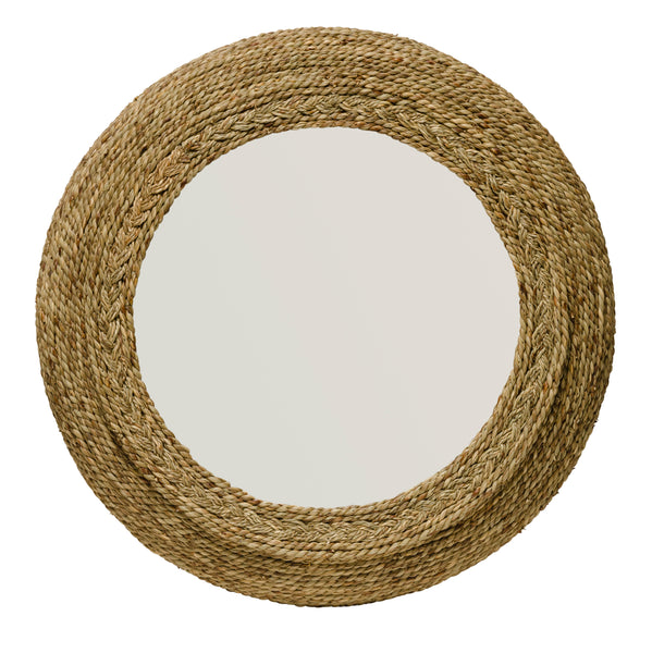 Circular Seagrass Accent Mirror