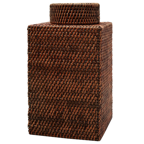 Bungalow 5 Large Woven Reed Square Jar – Brown