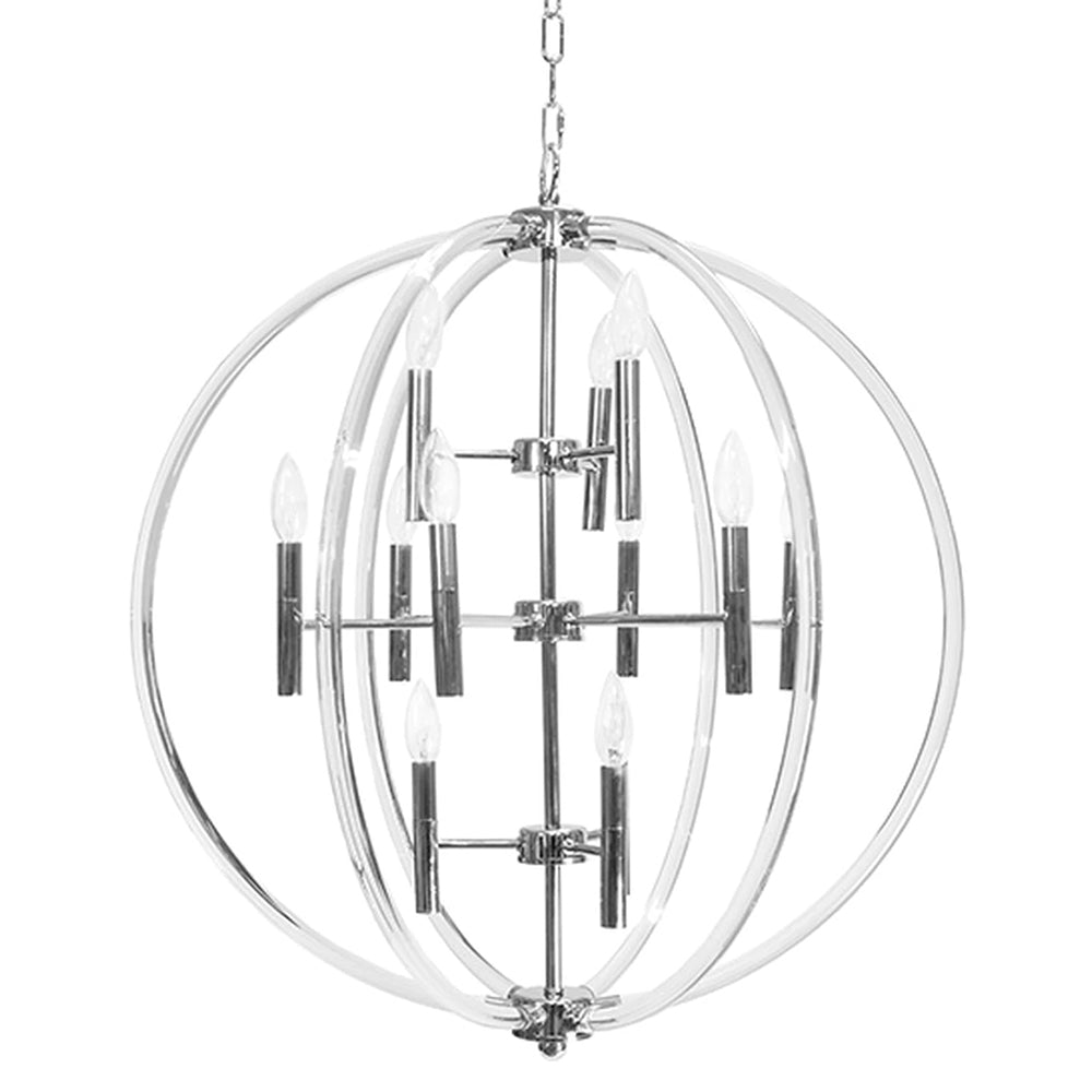 Worlds Away Large Acrylic Circles Chandelier – Nickel