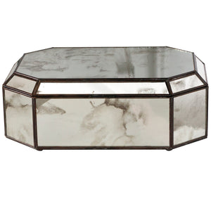 Worlds Away Octagonal Antique Mirrored Decorative Box