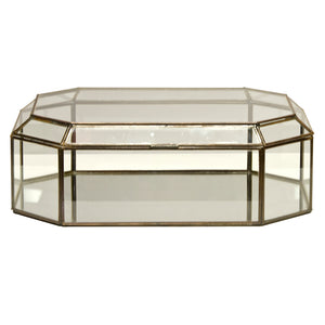 Worlds Away Octagonal Clear Glass Decorative Box