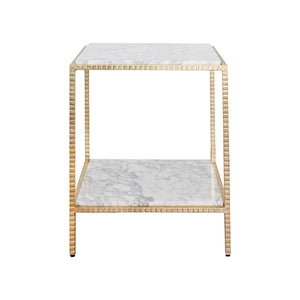 Worlds Away Brandy White Marble Square Side Table - Gold Leaf