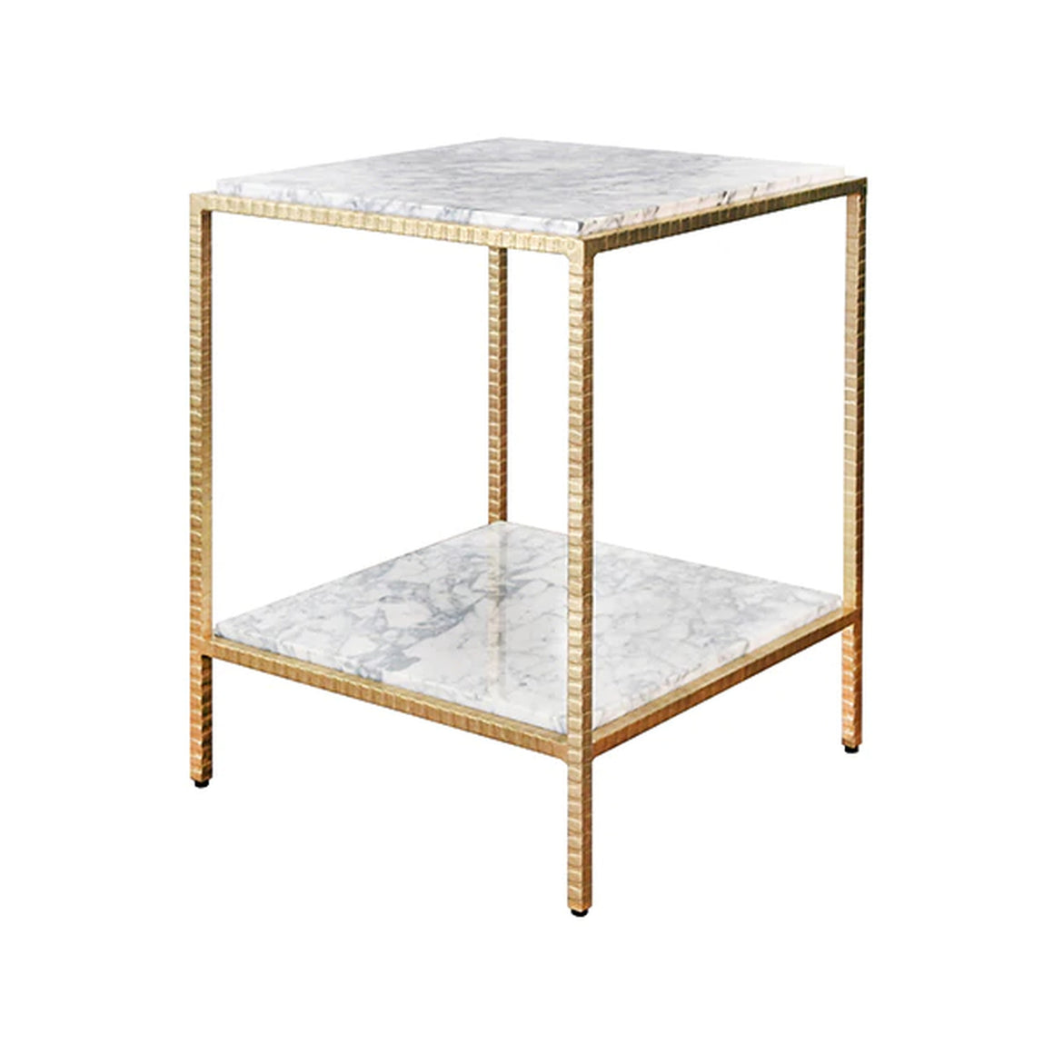 Worlds Away White Marble Square Side Table - Gold Leaf