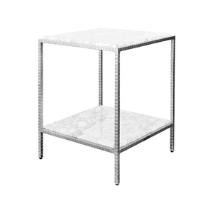 Worlds Away White Marble Square Side Table - Silver Leaf