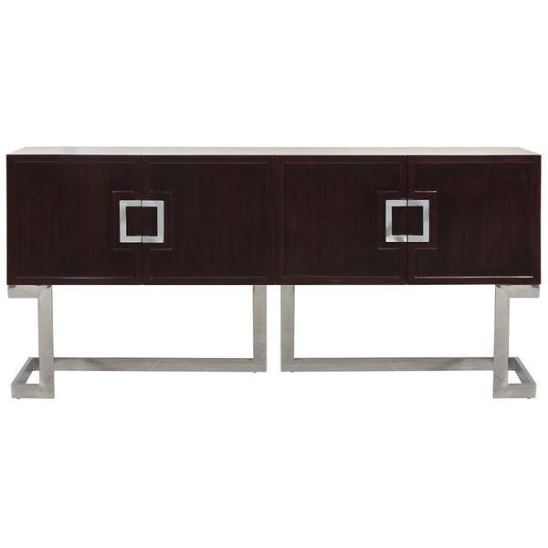 Deco Four Door Media Cabinet with Stainless Steel Base – Rosewood
