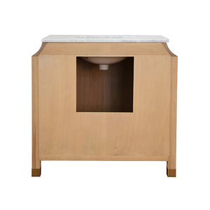 Worlds Away Bree Bath Vanity with Brass Ring Hardware - Cerused Oak