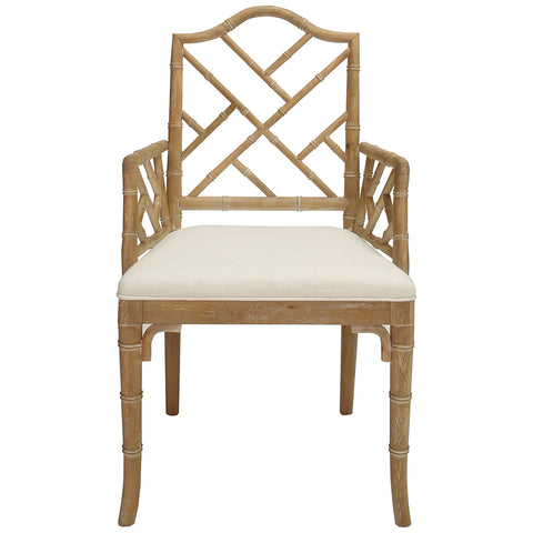 Worlds Away Chippendale Style Dining Arm Chair – Cerused Oak