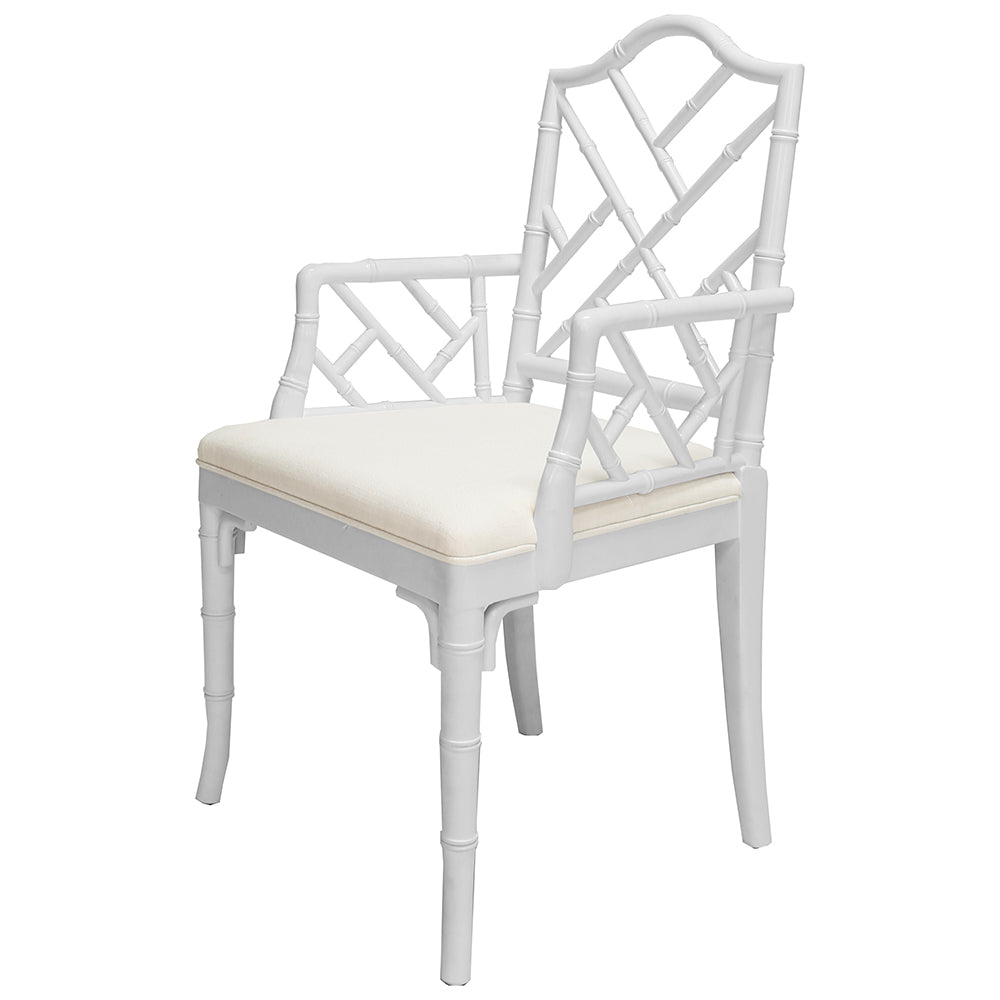 Worlds Away Bristol Chippendale Style Dining Arm Chair - White Lacquer