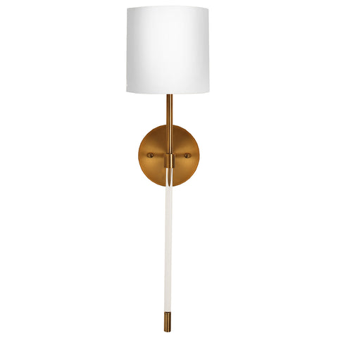 Worlds Away Acrylic & Metal Sconce with Linen Shade – Antique Brass