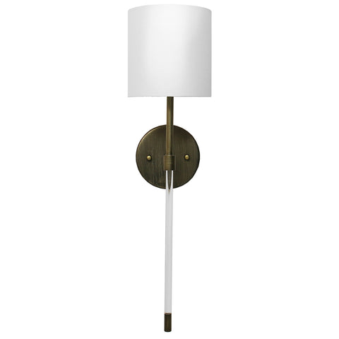 Worlds Away Acrylic & Metal Sconce with Linen Shade – Bronze