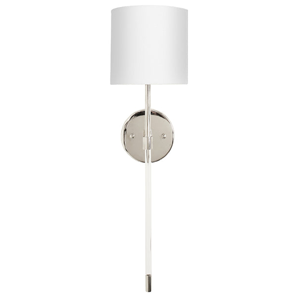 Worlds Away Acrylic & Metal Sconce with Linen Shade – Nickel