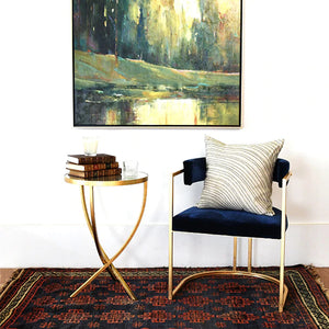 Worlds Away Brit Round Cross Leg Side Table - Gold Leaf