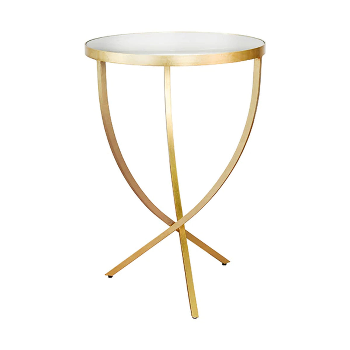 Worlds Away Round Cross Leg Side Table - Gold Leaf