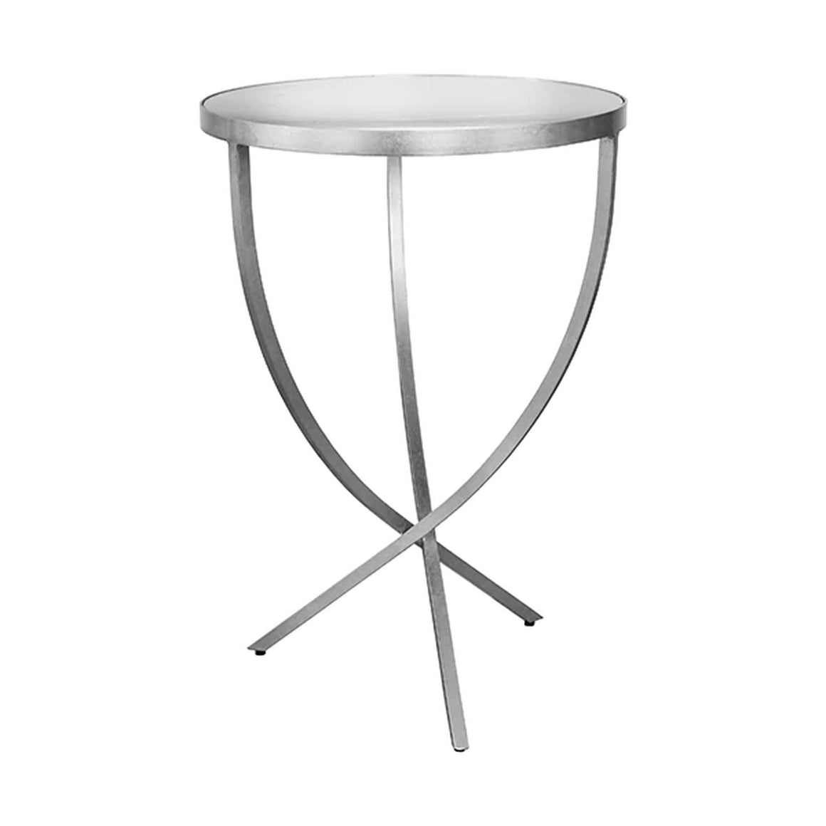 Worlds Away Round Cross Leg Side Table - Silver Leaf