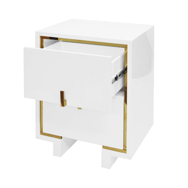 Worlds Away 2-Drawer Side Table with Inset Brass – White Lacquer
