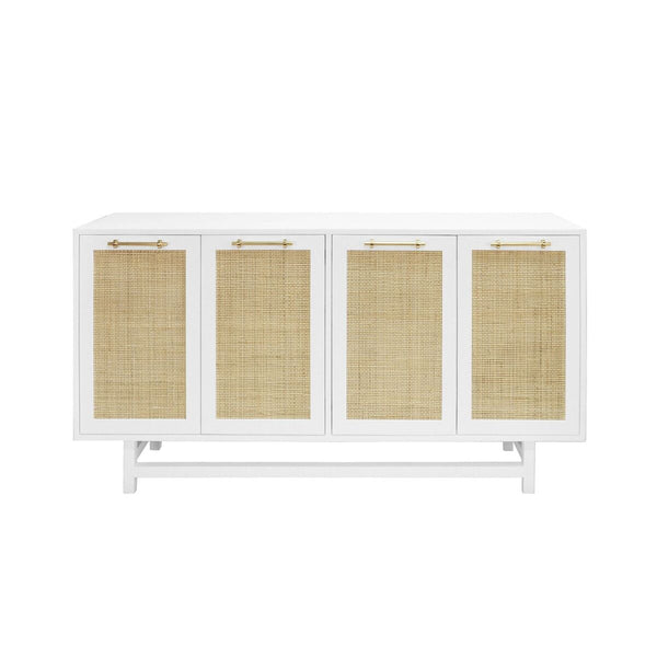 Worlds Away 4-Door Cabinet with Cane Door Fronts – Matte White Lacquer